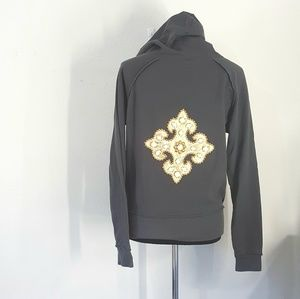 Twisted Heart Embellished Pull Over Hoodie